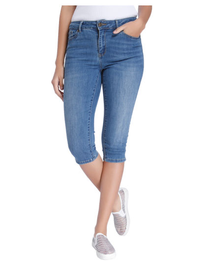Blue Side Slit Denim Capris