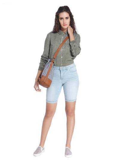 Long Fold Blue Denim Shorts