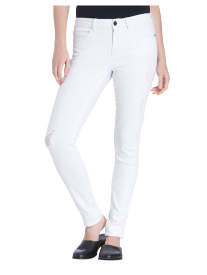 White Distressed Slim Fit Jeans