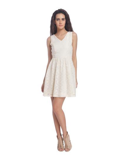 White Lace Skater Dresses