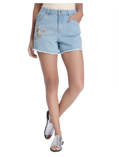 LIGHT BLUE EMBROIDERY SHORTS