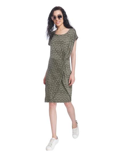 Green Printed Sheath Dress