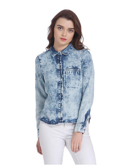 Blue Washed Denim Shirt
