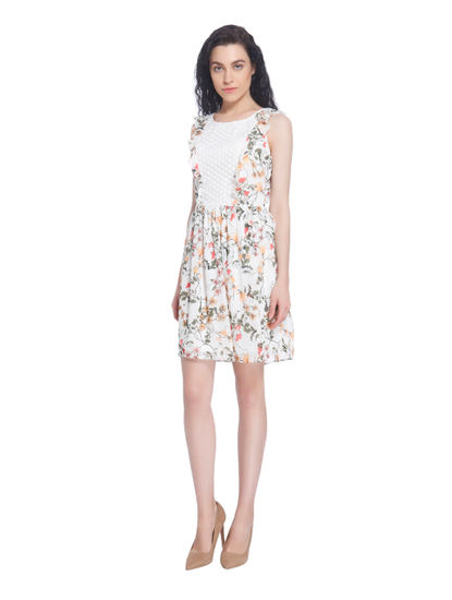 Lace Insert White Floral Print Mini Dress