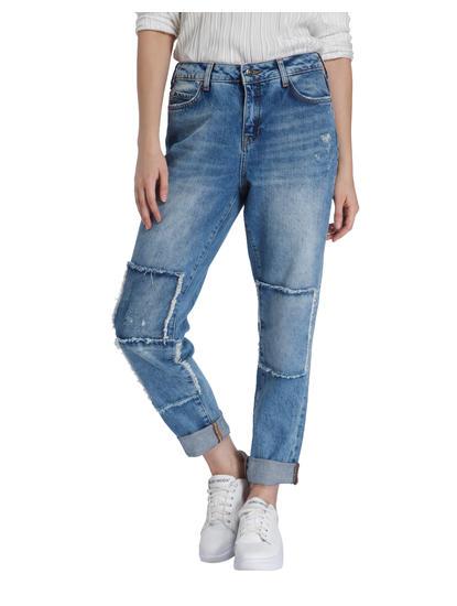 Blue Patch Detail Comfort Fit Jeans