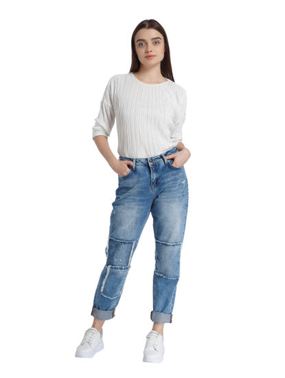 Blue Patch Detail Comfort Fit Jeans
