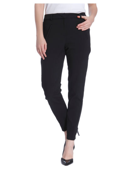 Black Anti Fit Ankle Length Pants