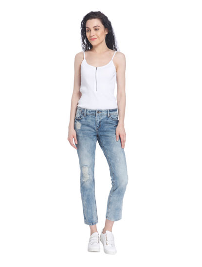 Distressed Loose Fit Blue Jeans