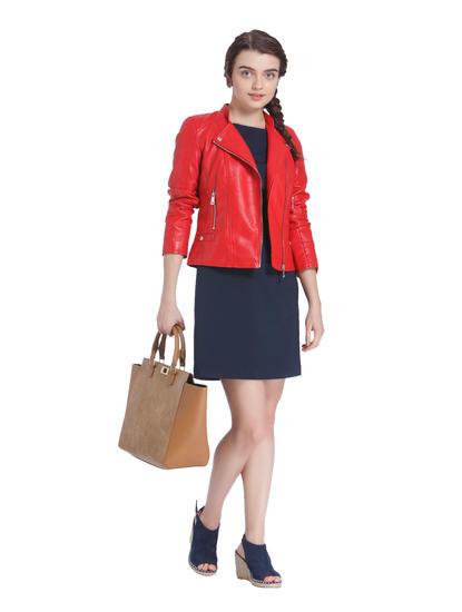 Bright Red Cropped Biker Jacket