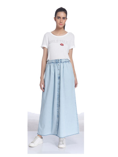 Casual Solid Long Skirt