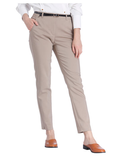 Beige Ankle Length Slim Fit Pants