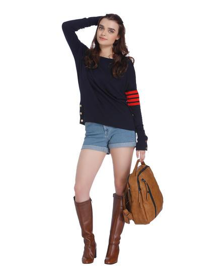 Dark Blue And Red Boatneck Sweatshirt
