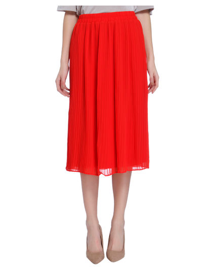 Scarlet Pleated Midi Skirt