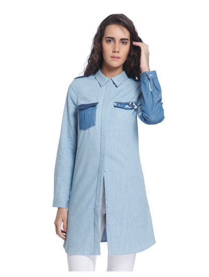 Blue Long Patch Pocket Shirt