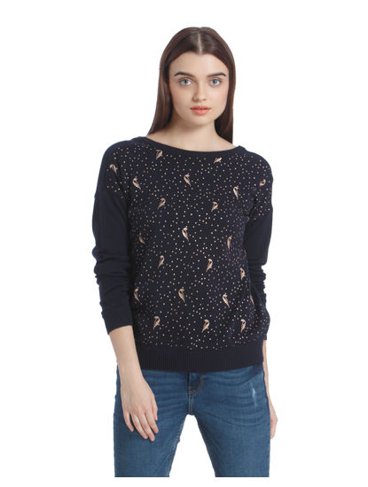 Dark Blue Bird Print Sweatshirt