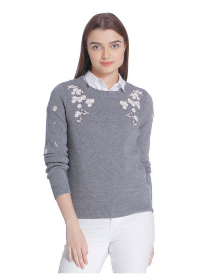 Grey Floral Embroidered Top