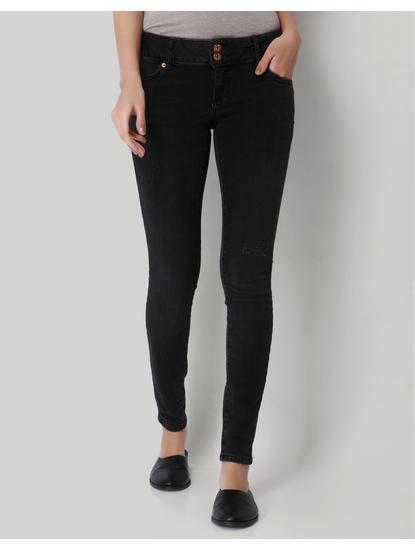 Dark Grey Low Waist Slim Fit Jeans