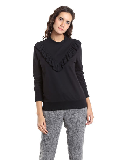 Black Ruffle Neck Sweatshirt