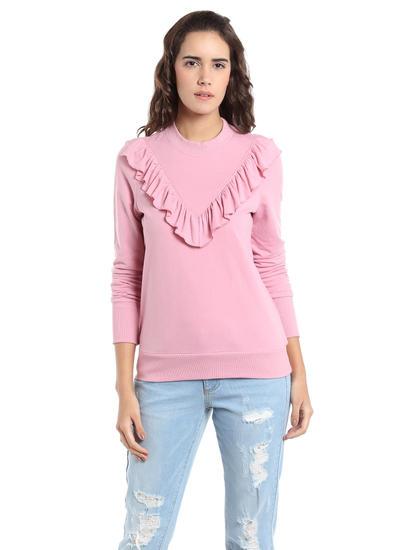 Pink Ruffle Neck Sweatshirt