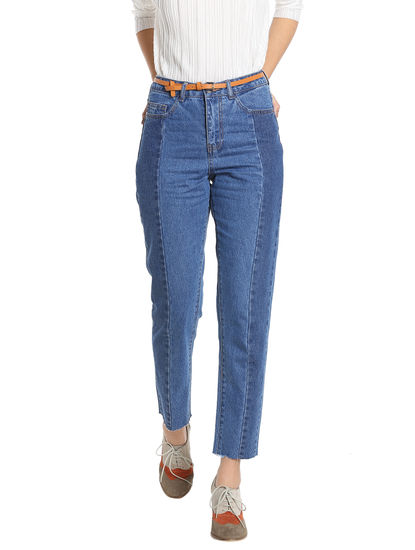 Blue Patch Wide Leg Jeans