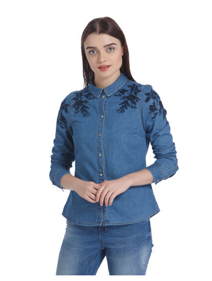 Blue Floral Embroidered Denim Shirt