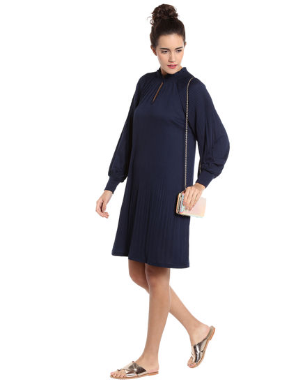 Navy Blue Pleated Shift Dress
