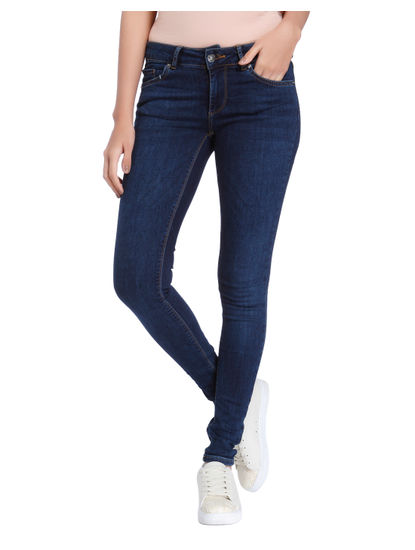 Dark Blue Low Waist Slim Jeans