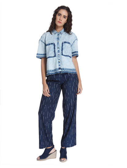 Printed Wide Leg Blue Pants