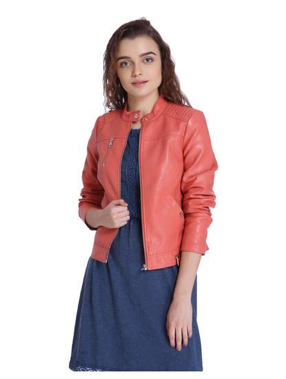 Red PU Short Jacket