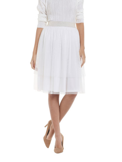 White Mesh Tiered Skirt