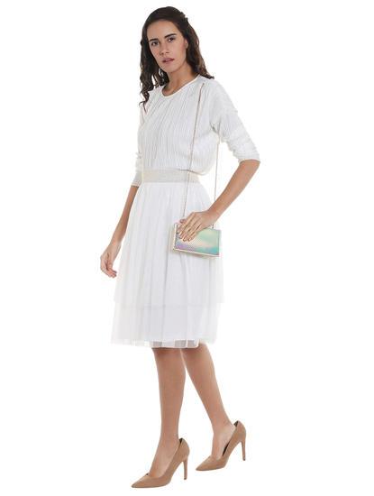 White Mesh Tiered Skirt