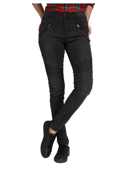 Black Regular Waist Slim Biker Jeans