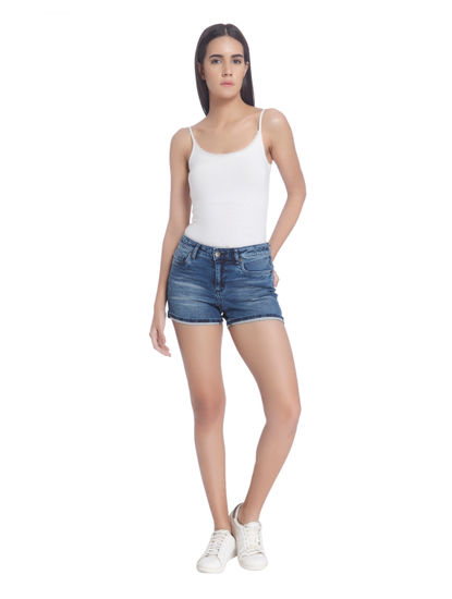 Blue Denim Slim Shorts