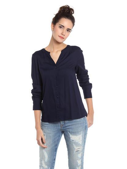 Dark Blue Floral Embroidered Shirt