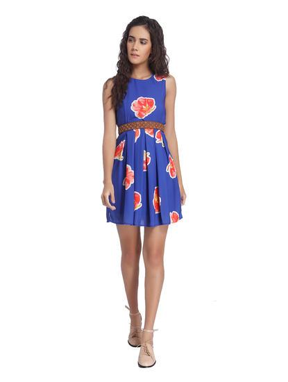 Blue Printed Skater Dresses