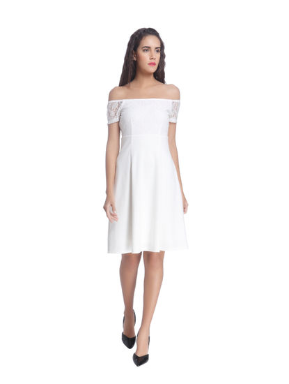 White Off Shoulder Fit & Flare Lace Dress