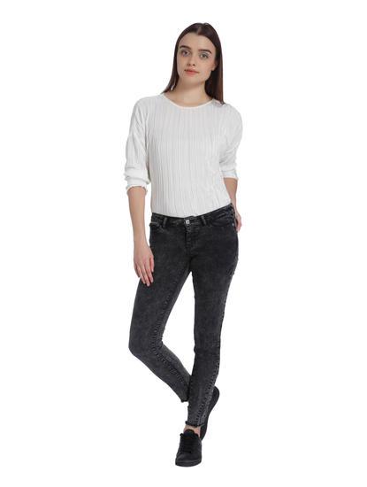 Dark Grey Stone Washed Low Waist Slim Jeans
