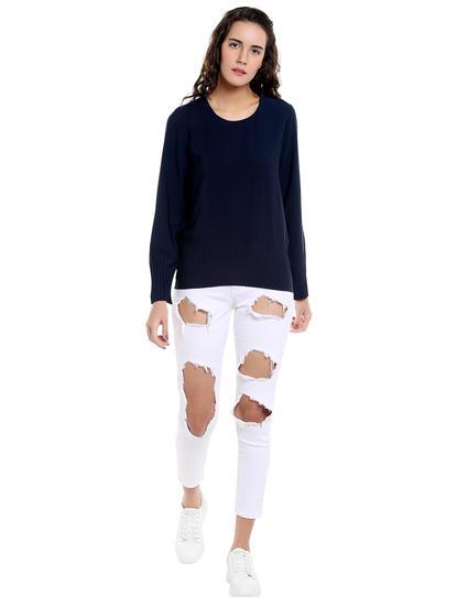 Dark Blue Pleated Detail Sweater