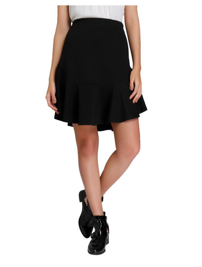 Black High Waisted Flared Mini Skirt