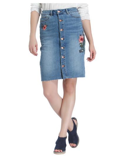 Blue Embroidered Button Down Denim Skirt