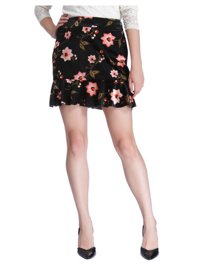 Black Floral Print Mini Skirt