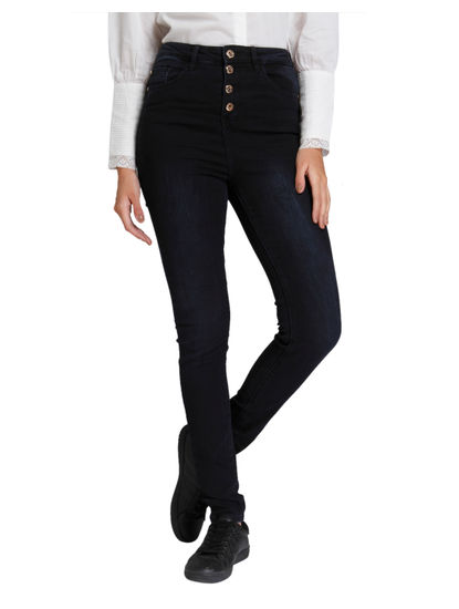 Dark Blue High Waist Button Down Slim Jeans