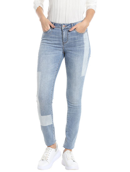 Light Blue Patchwork Slim Fit Jeans