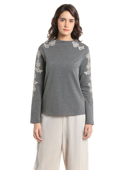 Light Grey Embroidered Sweatshirt