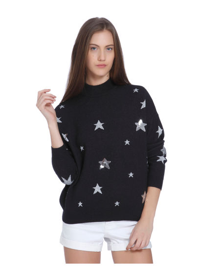 Dark Grey Star Print High Neck Sweater
