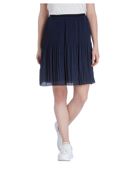 Dark Blue Pleated Skirt