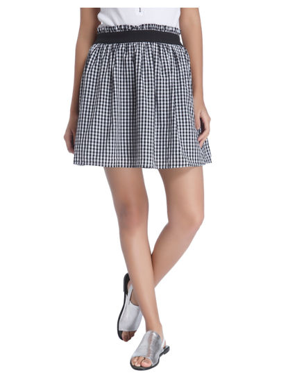 Black Gingham Mini Skirt