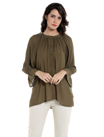 Olive Green Flounce Sleeves Shirt