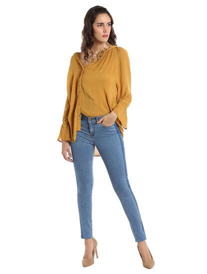 Mustard Flared Sleeves Shirt