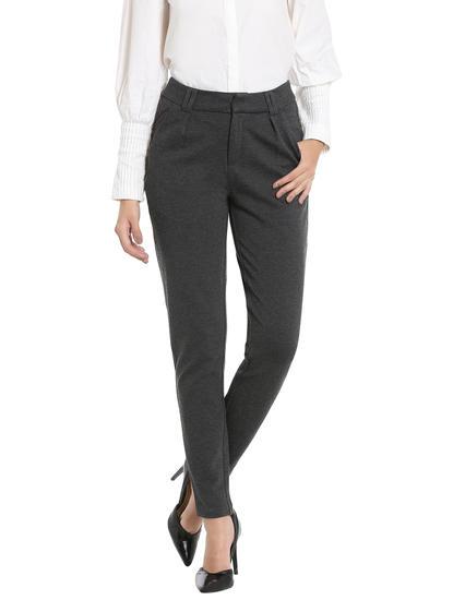 Dark Grey Regular Waist Slim Fit Pants